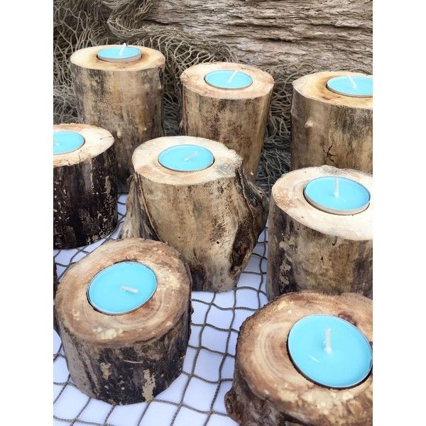 9 pc Set Driftwood Candle Holders, Beach Wedding Decor, Summer Party... (53 CHF) ❤ liked on Polyvore featuring home, home decor and candles & candleholders
