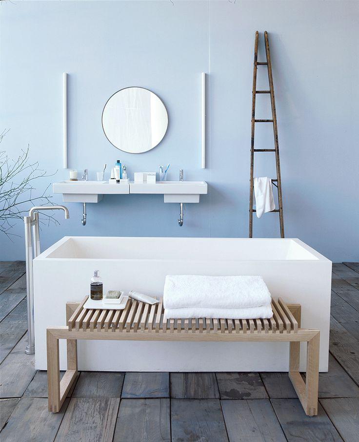 "our favorite bathroom paint color ideas on domino.com   ""Gingham blue"" by Pratt & Lambert"