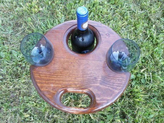 Folding Wine Stand Wine glass holder outdoor wine by NWPABackwoods