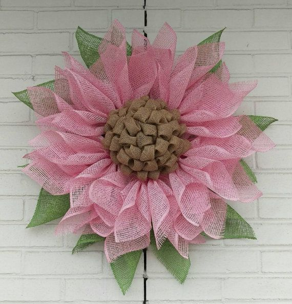 Light Pink Valentine's Day Poly Burlap Flower by GreeneBeanWreaths