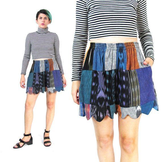 Boho Patchwork Shorts Slouchy High Waisted Shorts by honeymoonmuse