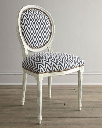 black and white chevron chair