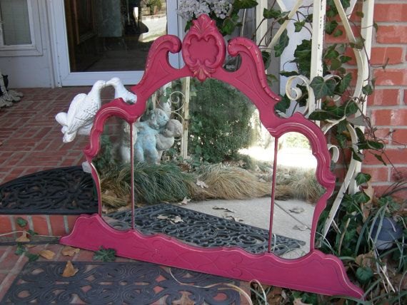 Gorgeous Hot Pink Rose Triple Mirror Chic Crown Shabby Ghosty Spots Silvering on Etsy, $395.00
