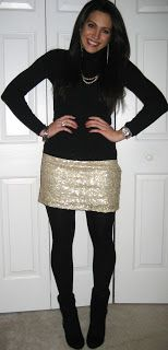 Way to wear a silver sequin mini skirt or aztec: with a balck turtle neck.  StyleCrush Diaries: Sequin skirt love