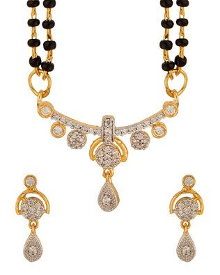 Gorgeous CZ Embellished Double Chain Mangalsutra Set |  Buy Designer & Fashion Mangalsutras Online