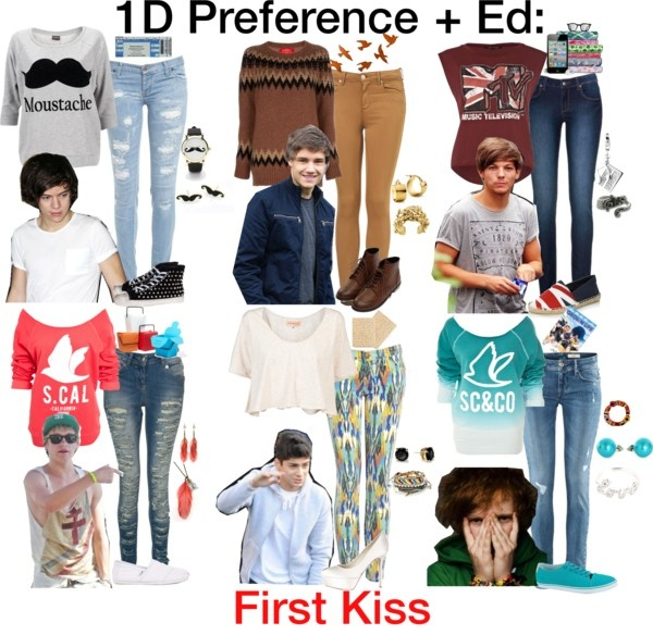 """""""1D Preference + Ed: First Kiss"""" by mugglehufflepuff ❤ liked on Polyvore"""