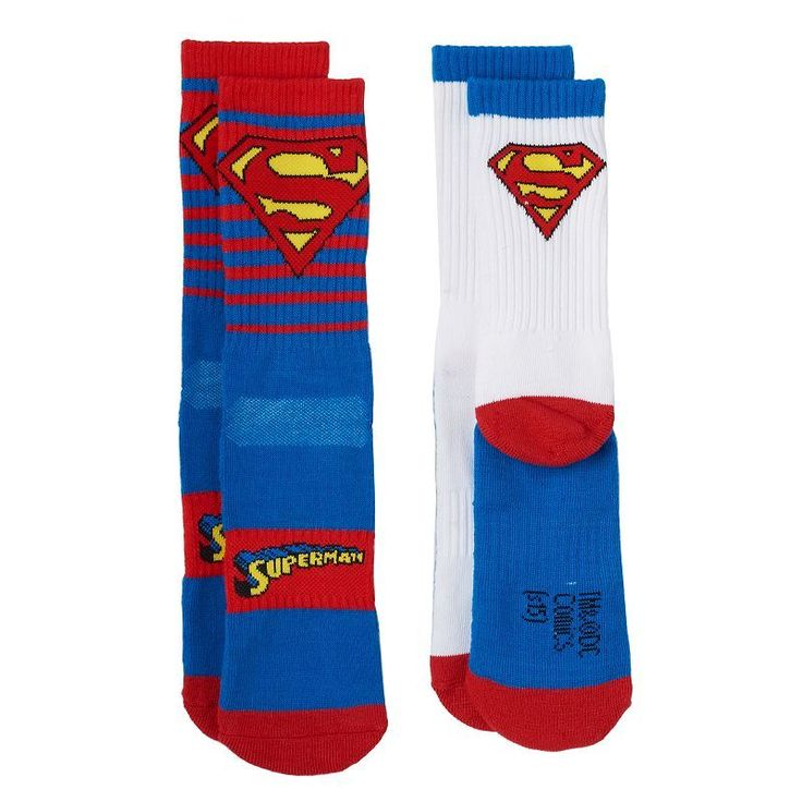 Boys 8-20 DC Comics Superman 2-Pack Athletic Socks, Boy's, Size: 6-8 1/2, Blue