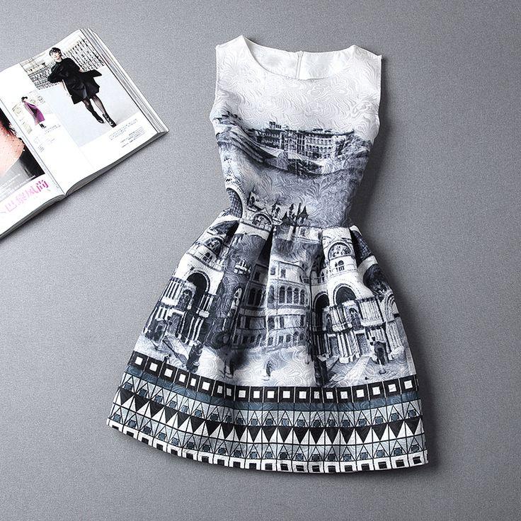 8 kleuren! S, m, l 2014 nieuwe hete verkopende vrouwen zomer jurk vintage print vest slim partysu render rijk baljurk partij jurken