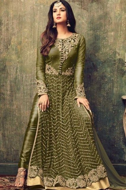 This Olive Green Net Trouser suit is perfect for wedding occasion.   Green Dresses | Party Green Dresses | Wedding Trouser suits