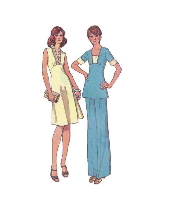 McCall ist nähen Muster der 70er Jahre Kleid Cocktailkleid Tunika Top Hose Rüschen Halsausschnitt lange kurze Ärmel hoher Taille Büste 34 Un...