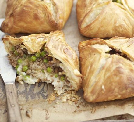 Shepherd's pie pasties from BBC Good Food. Replace the lamb for lentils and the stock with veggie stock and freeze for quick, easy lunches.