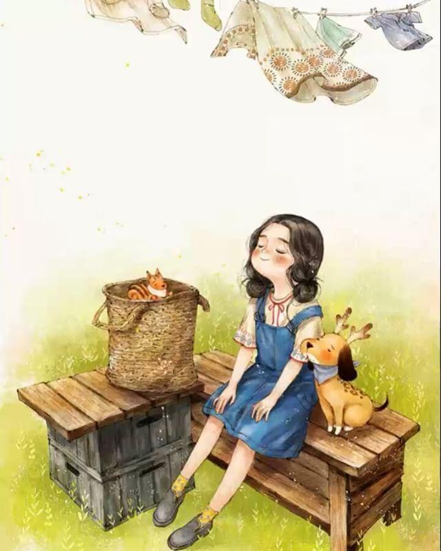 😍  #일러스트 #일러스트레이션 #모션그래픽 #소녀 #강아지 #힐링타임 #illust #illustration #motion #motiongraphics #girl #happy #happytime