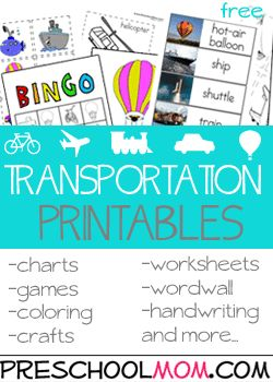 Free Preschool Printables at Preschool Mom transportation unit
