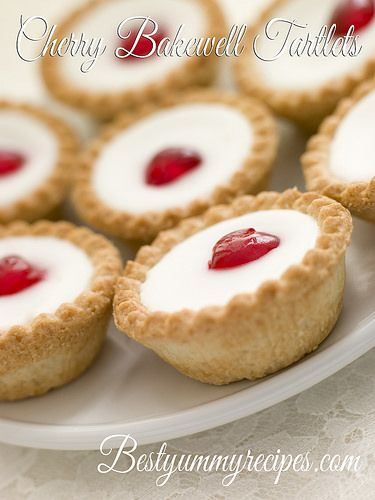 Cherry Bakewell Tartlets - Yummy!!! Little almond tarts with cherries too? Oh yes please!! :)