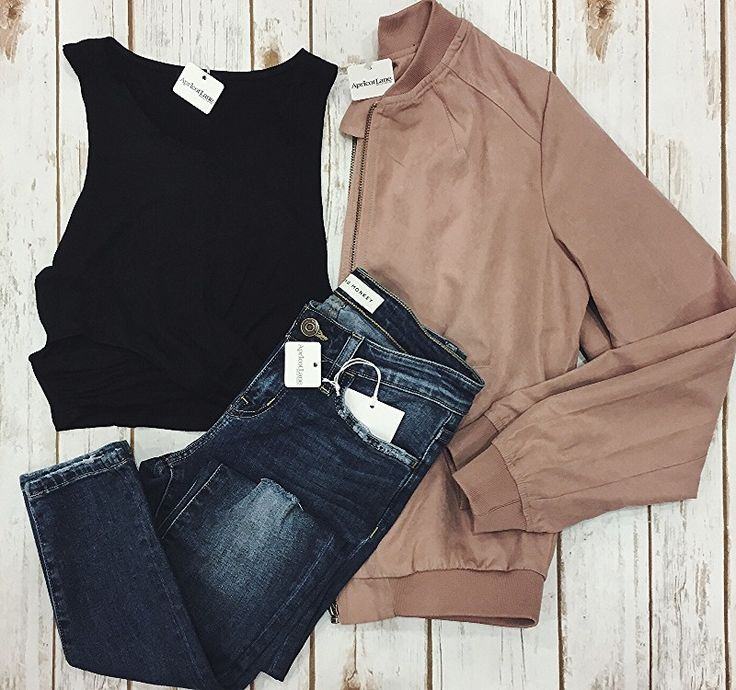 Do you have a concert coming up that you need a new look for? We have the perfect outfit fo you! #croptop #bomberjacket So Strappy Crop Top $24 Blushing In Suede Bomber Jacket $39