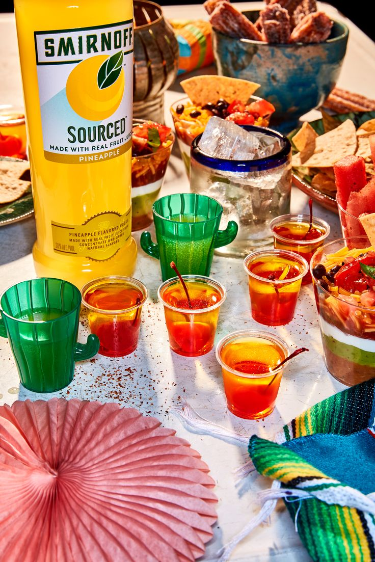 Whether you're from the North, South, East, or West side of the border, serve these cute Smirnoff Pineapple upside-down shots for everybody this Cinco de Mayo! Bonus: These gelatin shots have a sweet cherry center because we're all the same on the inside.  Pineapple Upside-Down Shots Recipe:  1 3oz box pineapple gelatin  ½ cup Smirnoff Sourced pineapple, 1 cup water, ¼ cup orange liqueur