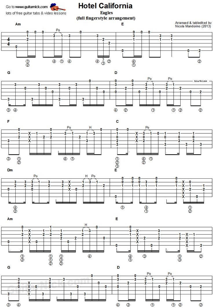 Hotel California - fingerstyle guitar tab 1
