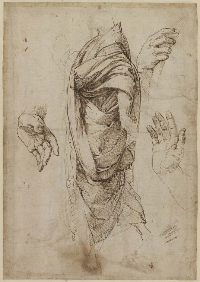 Raphael Drapery study and Hands ca. 1511 drawing British Museum