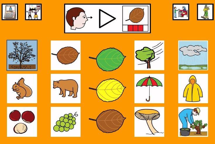 """""""Tablero de comunicación: Otoño"""". Recopilación de diferentes tableros de comunicación de 12 casillas, organizados por necesidades básicas y centros de interés. Los tableros pueden imprimirse tal como aparecen en los documentos o bien se puede modificar el contenido, la forma, el color, etc., para adaptarlos a las características individuales de cada usuario. Pueden utilizarse también para trabajar distintos repertorios de vocabulario agrupado por temas o categorías."""