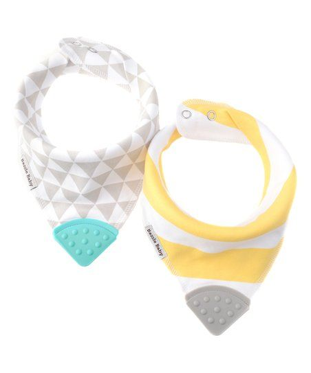 Bazzle Baby Yellow & White Stripe Bandana Bib Teether Set   zulily