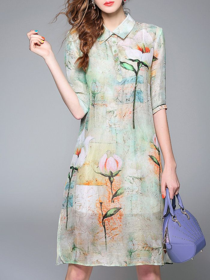 Apricot Shift Half Sleeve Linen Crew Neck Midi Dress