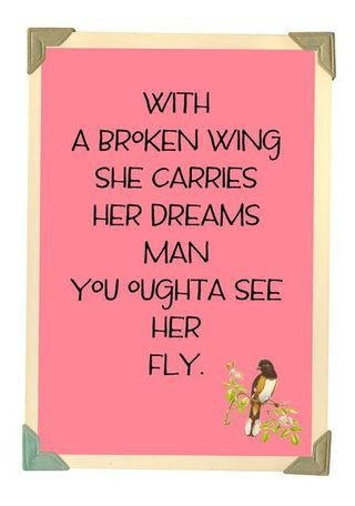 """With a broken wing she carries her dreams. Man, you ought to see her fly."""