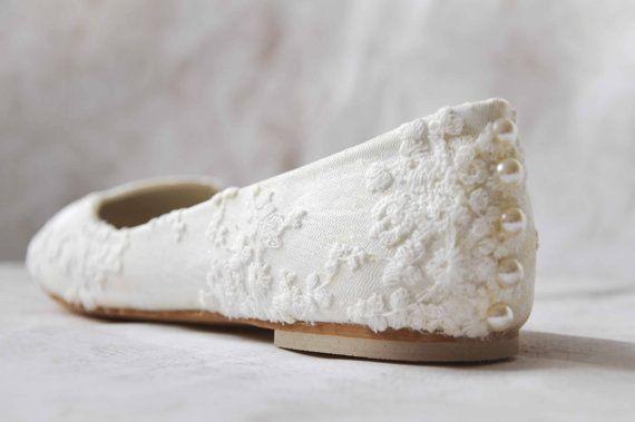 White wedding shoes lace flats lace bridal by gorgeousweddingshoes