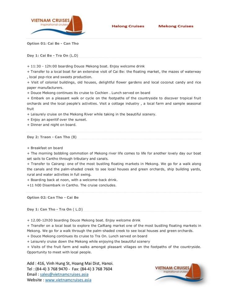 douce-mekong-cruise-02days by Vietnam Cruises via Slideshare