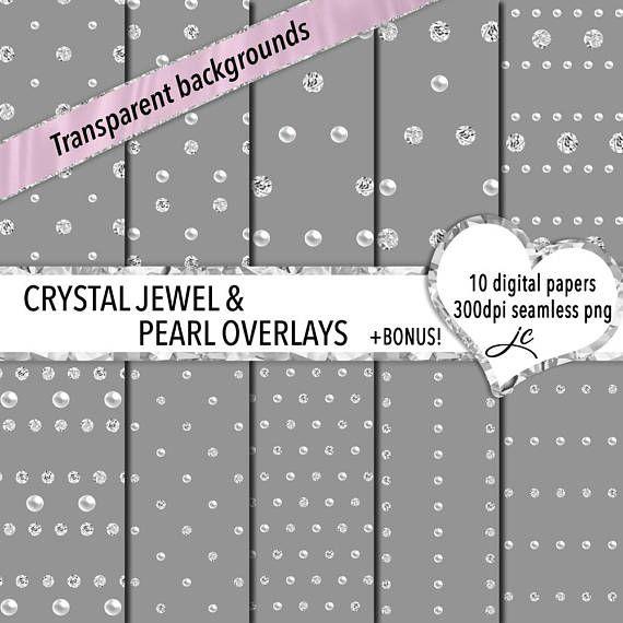 Crystal Jewel and Pearl Overlays Digital Papers  BONUS