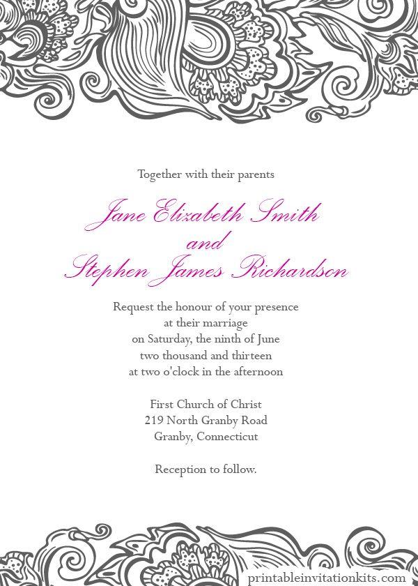 free wedding pdf downloads  deco border wedding invitation