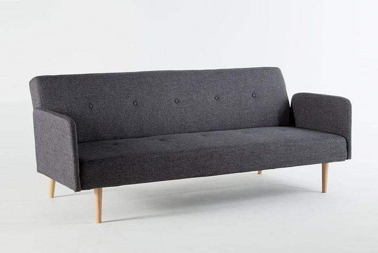 Canapé clic-clac tissu 2 places + pieds bois design LAURETTA pas cher
