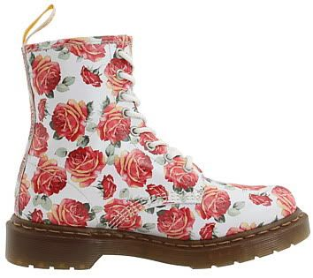 Dr. Martens 1460 Women's Doc Hot Military style Roses Floral Boots Spring 2010