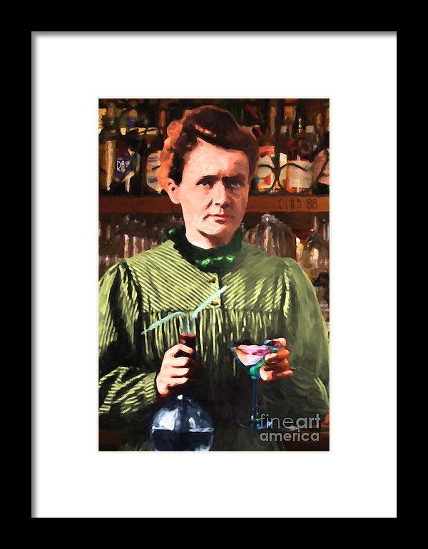 Madame Marie Curie Shaking Up A Killer Martini At The Swank Hipster Club 88 20140625 Framed Print by Wingsdomain Art and Photography  wingsdomain marie curie madame marie curie madam madame marie curie maria maria curie currie fun funny …