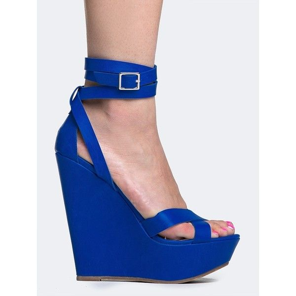 VIVI-24 WEDGE ($30) ❤ liked on Polyvore featuring shoes, sandals, heels, blue, blue sandals, wedge heel shoes, strap wedge sandals, blue shoes y strappy heel sandals