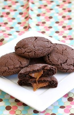 Rolo Cookie Recipe on twopeasandtheirpo... Chocolate cookies with a Rolo surprise inside!