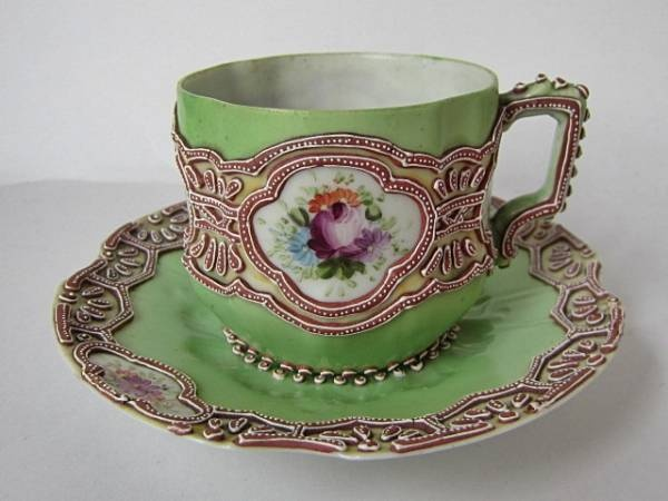 Old Nippon Momoi  Moriage cup and saucer  c.1900