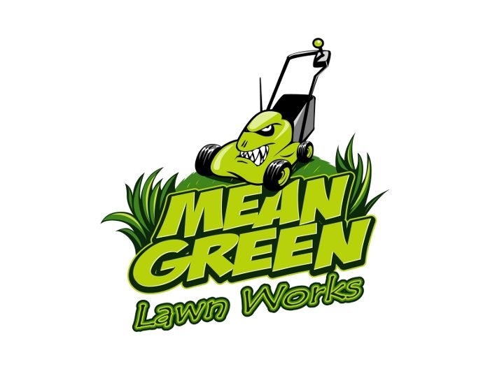 Mean green lawn works gardening logo looks mean and green for Garden maintenance logo