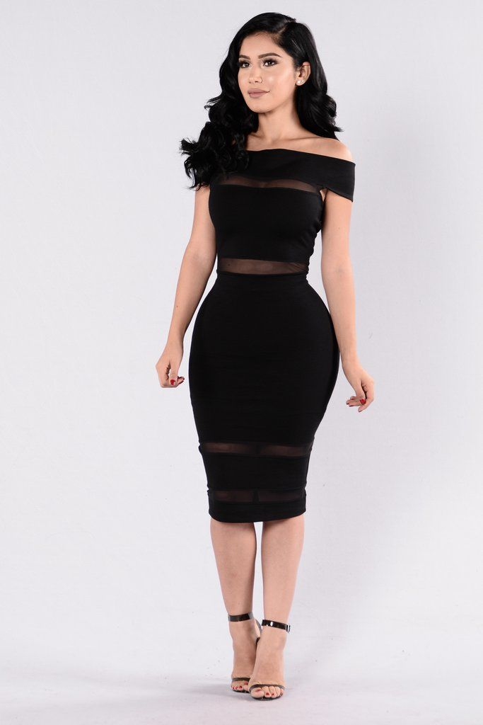- Available in Black and Red - Off Shoulder Dress - Mesh Contrast Detail - Overlap Front - Cap Sleeve - Midi Length - Made in USA - 65% Rayon 30% Nylon 5% Spandex