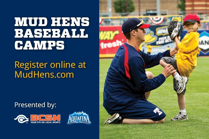 The Mud Hens Baseball Camps Presented By Aquafina And Bcsn Are Back For The 2012 Season The Toledo Mud Hens Will Baseball Camp Baseball Camping With Kids