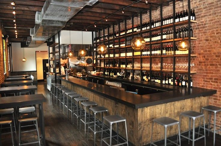 From Terrior in Brooklyn- love this industrial loft bar look for basement More