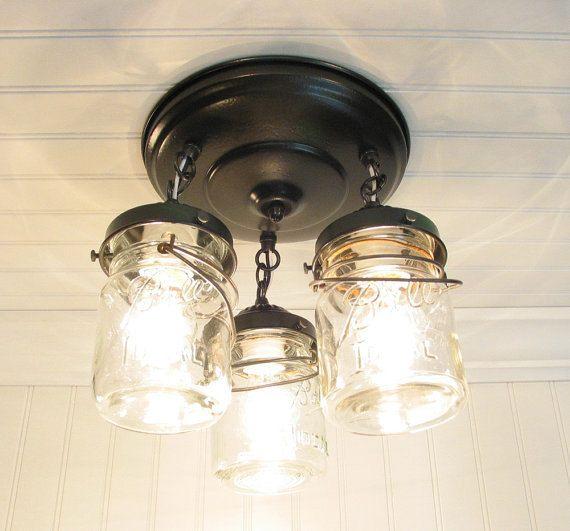 Mason Jar Ceiling Lighting Fixture