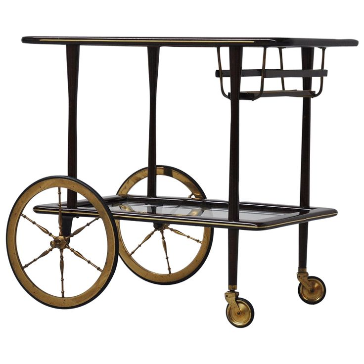 1stdibs - Ico Parisi tea cart mahogany wood and brass details, Italy 1950 explore items from 1,700  global dealers at 1stdibs.com