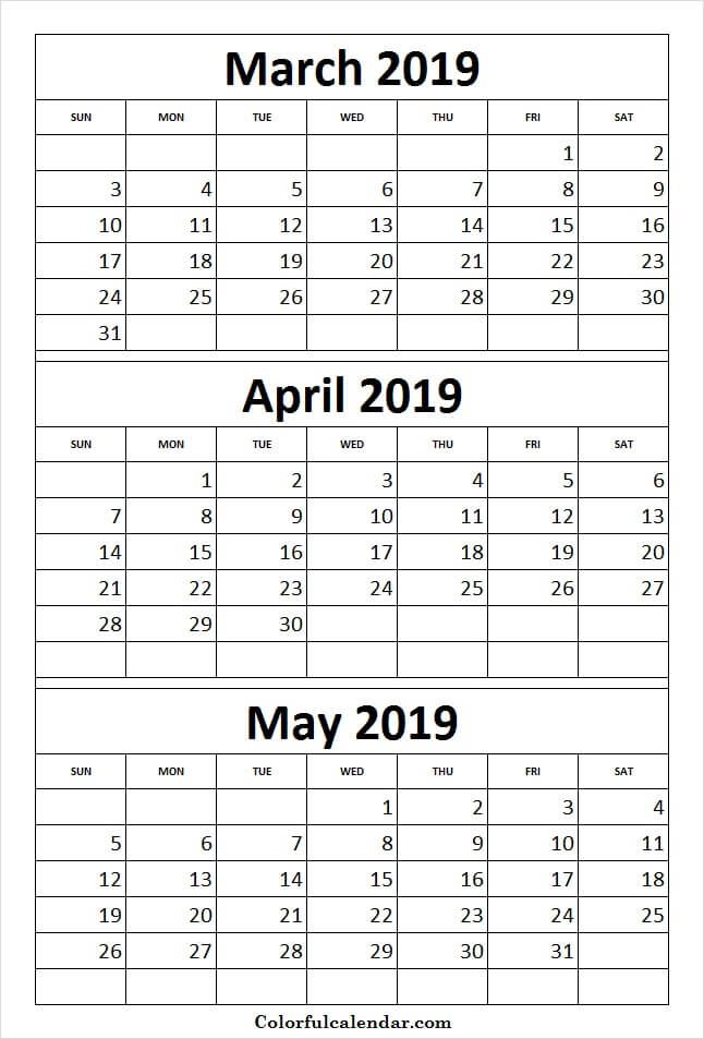 print calendar 2019 march april may