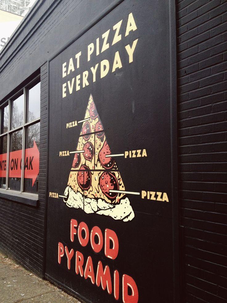 Eat pizza everyday food pyramid in Portland, Oregon