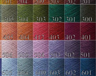 Choose any 8 color from palette ( just left note in order ) - each ball weight 50gram / 1.75oz. Total 400gram/ 14oz linen yarn in this listing.  100% Linen Yarn for your craft ideas - knitting, crocheting, weaving, embroidery, macrame, tatting. Made in Lithuania (Europe)  1, 2, 3 or 4 Ply Thickness ( you can choose it in order)  •Type: laceweight, 1 ply Length: 1800m - 1950 yards 100gr - 3.5oz • Type: laceweight, 2 ply 920yards per 3,5oz. 850m - 100gr  • Type: laceweight, 3 ply 660 yards per…