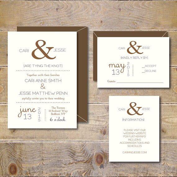 Ampersand Wedding Invitations Rustic Wedding by DeanPenn on Etsy