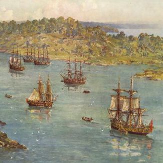 The First Fleet's arrival into Sydney Harbour. Painting..John Allcott