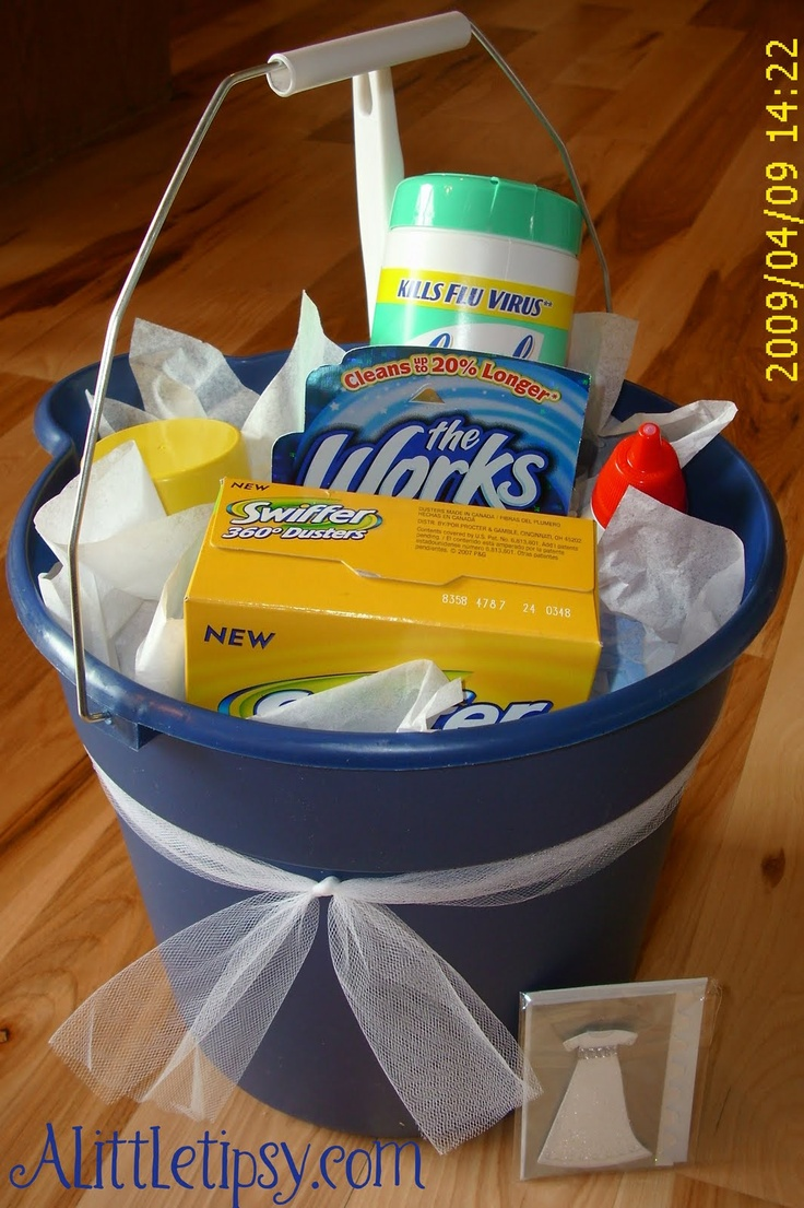 Cleanin' bucket gift basket. (toilet bowl cleaner, sponges, swiffers, ajax, comet, lysol wipes....) Cool new homeowner gift.
