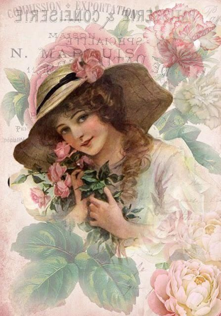 Set Of Two Victorian Woman With Pink Roses And Hat