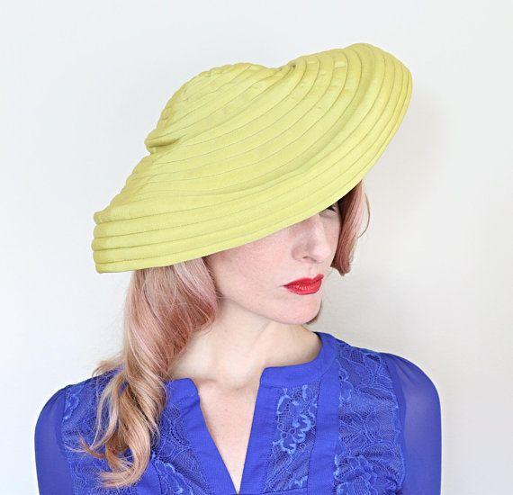 Reserved 4 M Vintage 1930s Hat Chartreuse Wide Brim Hat Etsy Wide Brim Hat Brim Hat Grosgrain Ribbon Bows